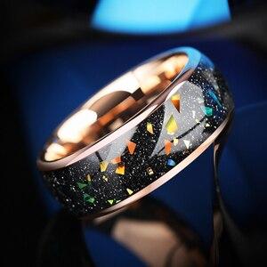 Image 2 - 8 мм ширина Опал Обручальные Мужские t вольфрамовые кольца розовое золото вольфрамовые мужские ювелирные изделия, бесплатная доставка