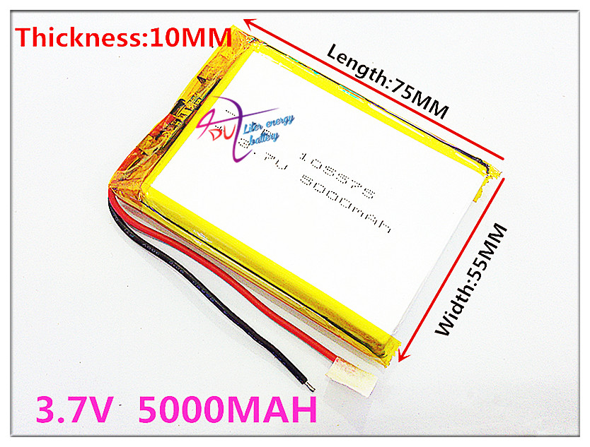 105575 3.7V 5000MAH Polymer Lithium LiPo Rechargeable Battery For GPS DVD E-book tablet pc laptop power bank video game image