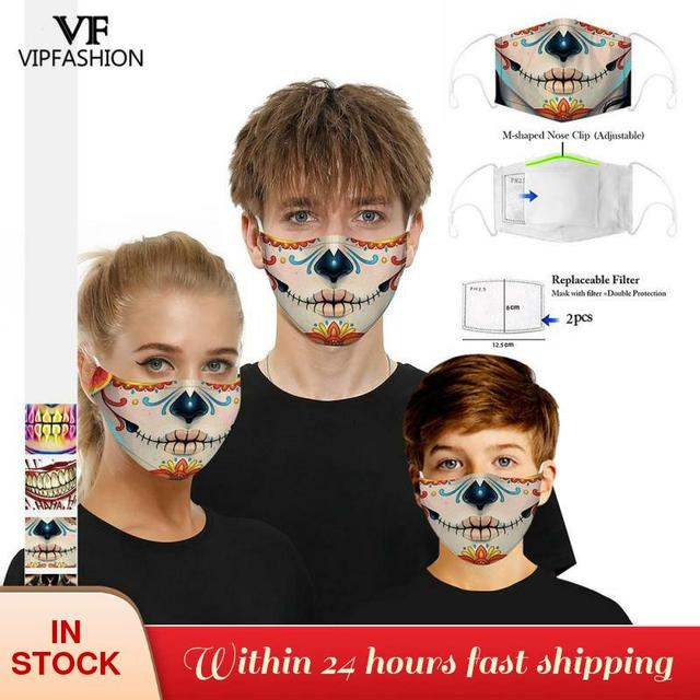 VIP FASHION New Funny Adult Kids 3D Grimace Ghost Printed Face Masks Cotton Mouth Mask Clothing Accessories For Party