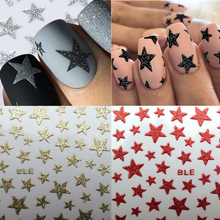 3D Nail Art Stickers Slider Stars Glitter Shinning Stickers DIY Water Transfer Decals Colorful Nail Tips  Manicure Decorations 20pcs lot nail art stickers diy 3d nail tips design water transfer foil glitter decals manicure nail decoration tools stickers