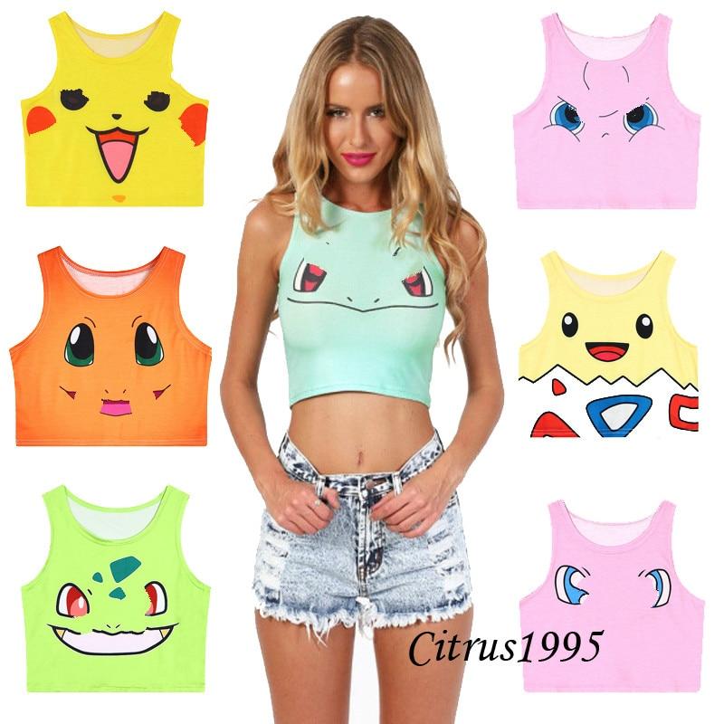 Crop Vest Tops Tank-Top Camis Monster Shirt Summer Sailor Moon Harajuku Women Girls Sexy