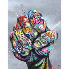 Diy картина по номерам на улице graffit Раскраска большой кулак
