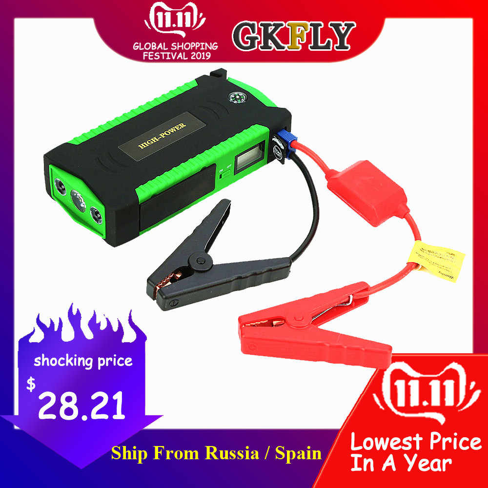 GKFLY Hoge Capaciteit Uitgangspunt Apparaat Booster 600A 12V Auto Jump Starter Power Bank Auto Starter Voor Auto Batterij Oplader buster LED