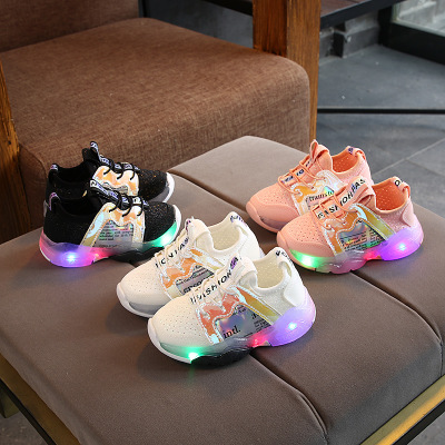 2020 Spring Toddlers Boys Sneakers With Light Mesh Casual Shoes Baby Elastic Cloth Breathable LED Boys Girls Shoes First Walkers