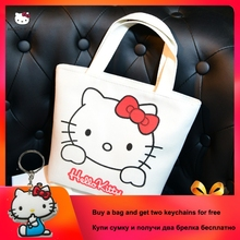 Hellokitty 2019 Fashion Messenger Bag Portable Totes Canvas Ladies Cartoon Clutch Female Handbag Shopping