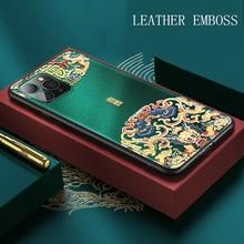 Capa luxuosa de couro com estampa, para iphone 11 pro xs max xr x se, nova capa macia de silicone para iphone escudo 7 8 6 6s plus