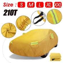 210T ฝาครอบรถยนต์เต็มรูปแบบสำหรับ Sedan SUV หิมะสีเหลืองกันน้ำ UV ป้องกันรอยขีดข่วนกรณี Protector สะท้อนแสง strip