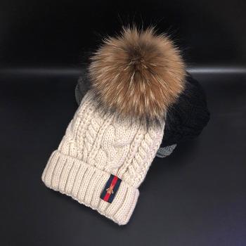 2020 czapki zimowe 100 futro naturalne czapki z pomponem 5A jakości czapki zimowe czapki bonnet girls tanie i dobre opinie Cllikko Dla dorosłych WOMEN Paisley h896 Skullies czapki Na co dzień