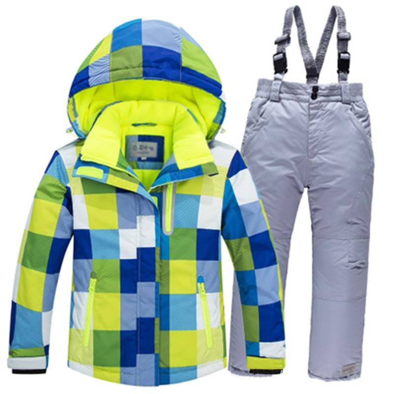 2019 Winter Childrens Ski Suit Girls Outdoor Sports Snowboard Jacket Boys Clothing Kids skiing Set Waterproof Windproof Warm