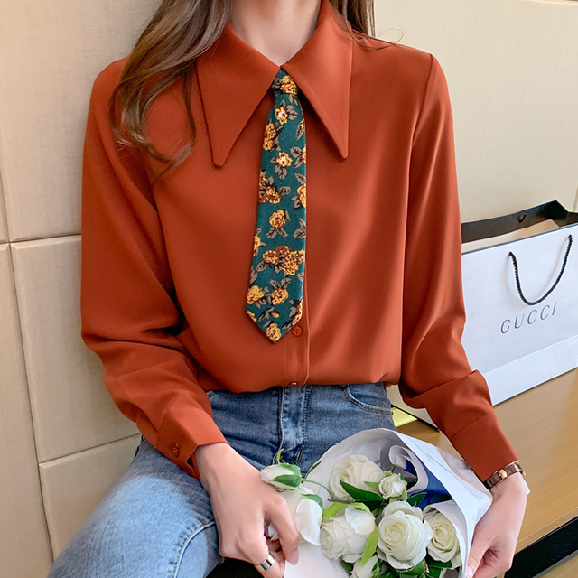 Spring 2021 New Style Big Lapel Retro Palace Style Contrast Color Tie Long-sleeved Chiffon Shirt Women Blouses 5