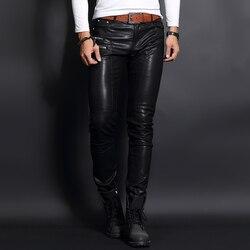 Top Merk Koreaanse Slim Fit Heren Faux Schapenvacht Lederen Broek Skinny Punk Man Broek Volledige Lengte Rits Mode Pantalon Hombre