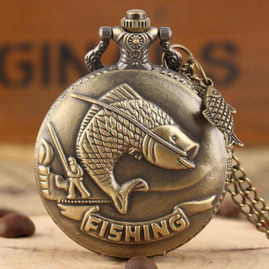 Vivid Fishing Carving Design Quartz Pocket Watch Vintage Bronze Interesting Design Angling Clock For Men Women + Fish Accessory