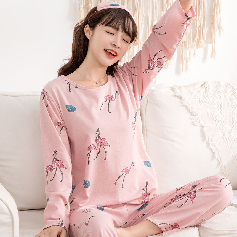 With Eye Patch/6535 Cotton Long Sleeve Pajamas Women's Spring And Autumn Cartoon Flamingo Long Sleeve Women's Home Wear Three-pi