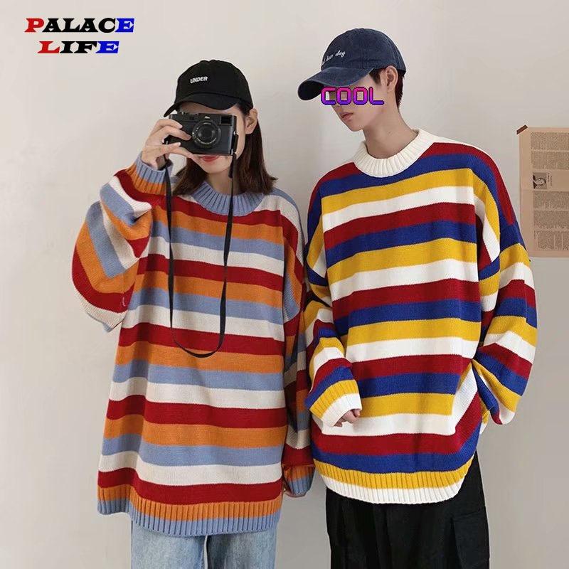 New Fashion Knitwear Men Sweater Round Neck Color Rainbow Striped Sweater Harajuku Retro Couple Casual Streetwear