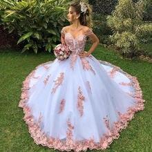 Бальное платье вечерние платья Длинные розовые кружевные с аппликацией