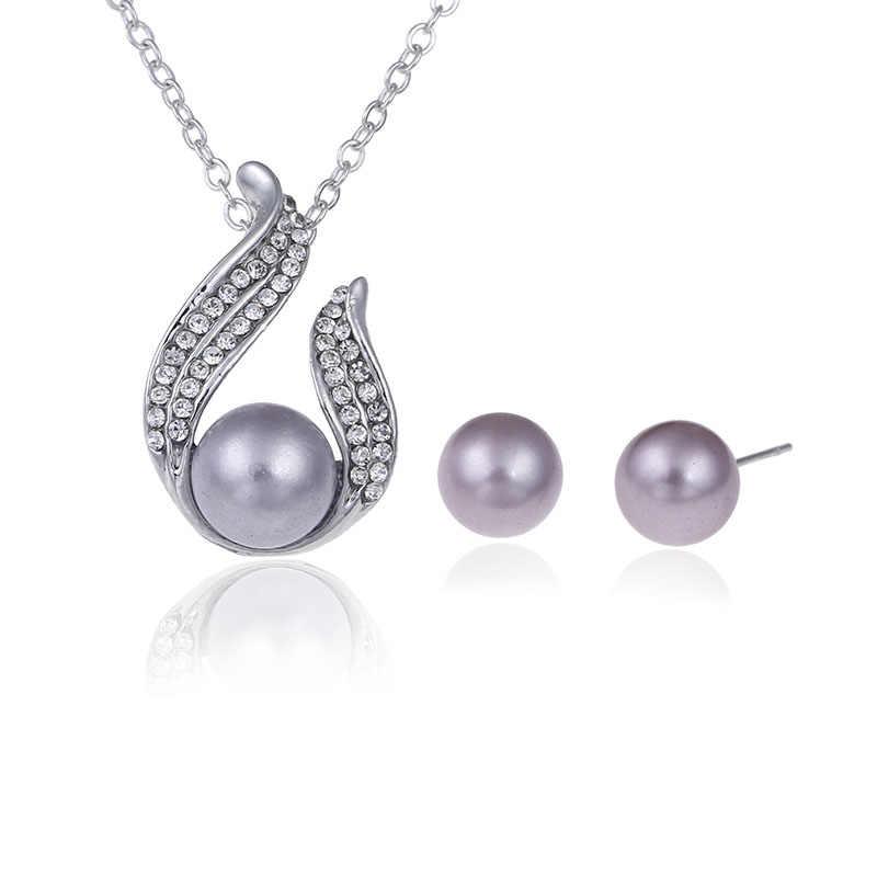 高級ブライダルパーティージュエリーセット注真珠ネックレスセットリンクチェーンドロップイヤリングシルバーメッキ女性ウェディング