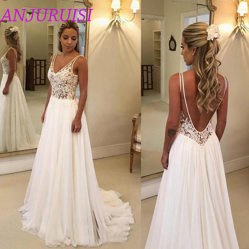 ANJURUISI 2019 Cheap Beach Wedding Dresses Lace Appliques V Neck Sexy Backless Boho Bridal Gowns A Line Robe De Mariage Chiffon