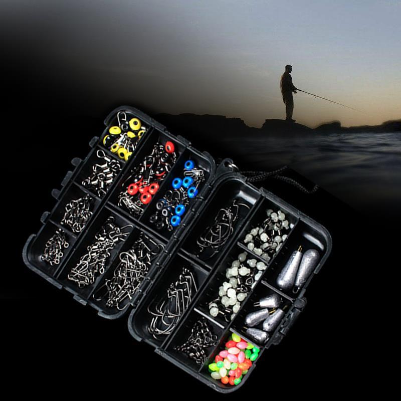Fishing Accessories Set Durable Portable 177pcs/Set Black Metal Angling Tools Swivels Clamp Hooks Fishing Set Decoy Tackle Box