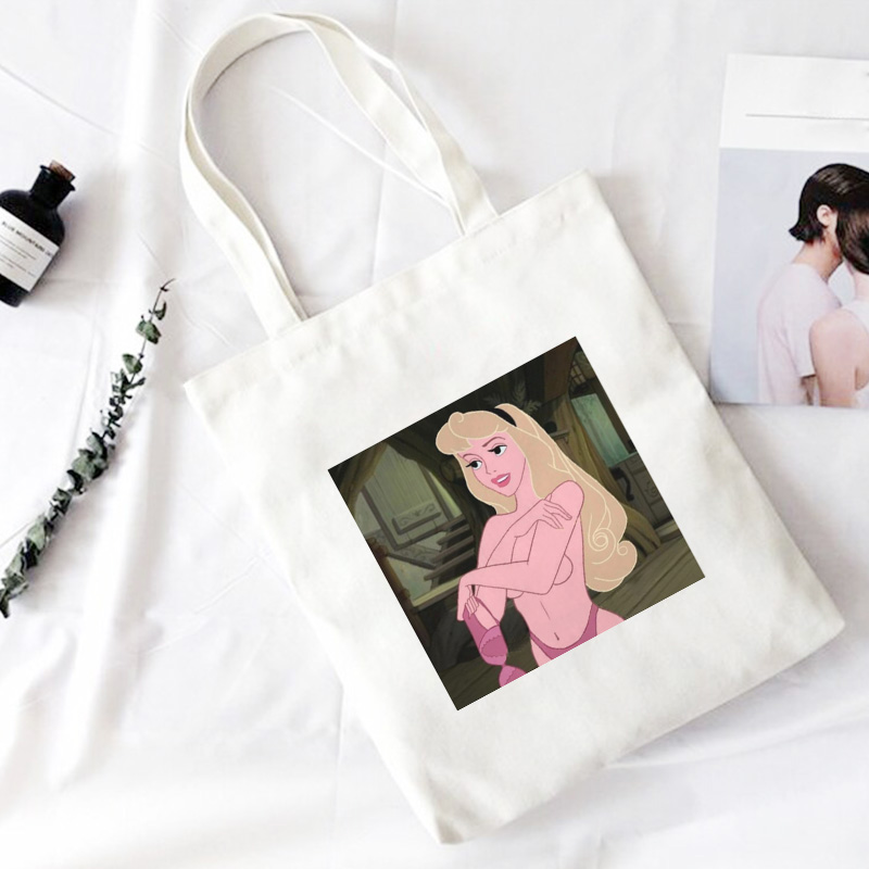 Fun Not Wearing Underwear Princess Shoulder Canvas Bags Harajuku Cartoon Messenger Bag Cute Ulzzang Handbag New Casual Women Bag