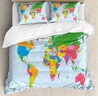Map Duvet Cover Set Classical Colorful Map of World in Political Style Travel Europe America Asia Africa Decorative 3 Piece Bed