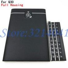 オリジナル用 Blackberry パスポート Q30 フルコンプリートの携帯電話ハウジングカバーケース裏表紙 + トップカバー + 英語キーパッド + ロゴ