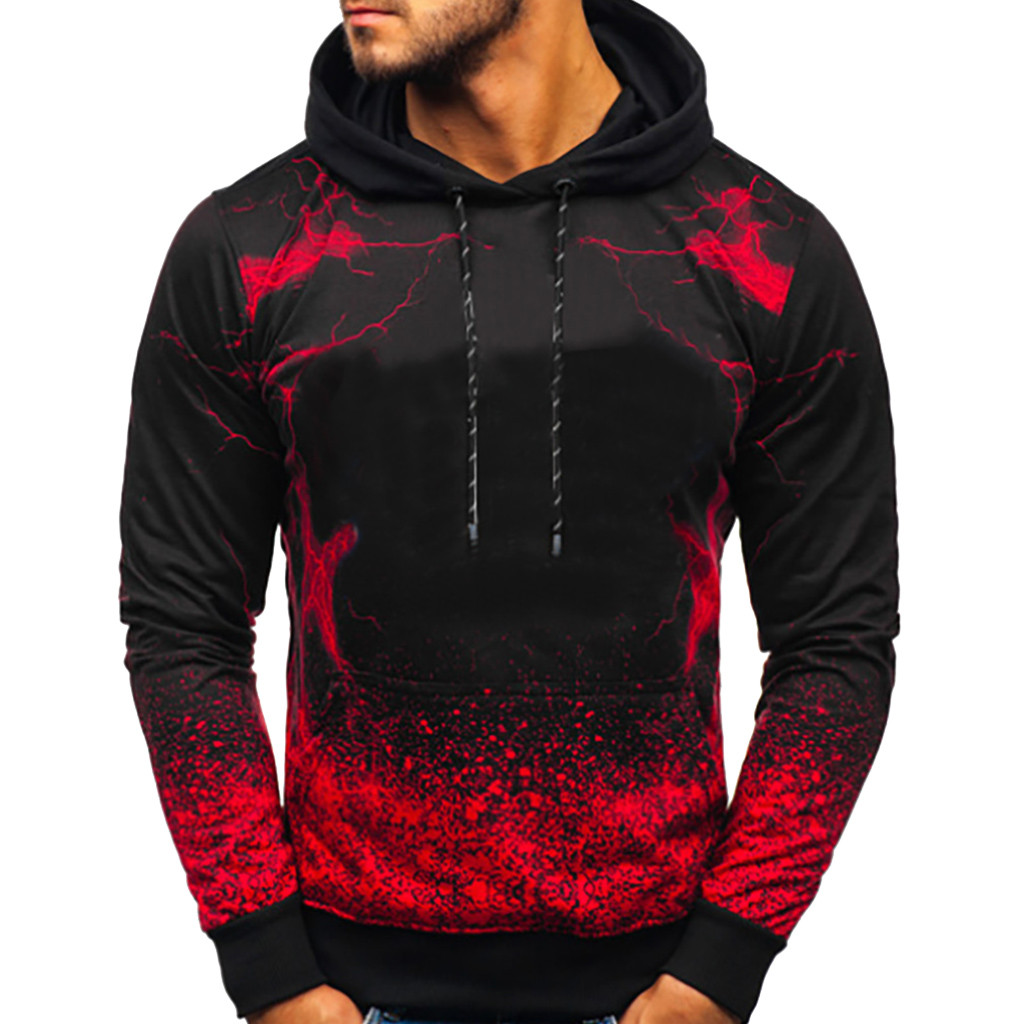 Streetwear Men's Hoodies Sweatshirts Hooded Men's Fashion Long-sleeved Round Neck Gradien Color Printing hoodies sudadera hombre