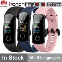 """Oryginalny Huawei Honor Band 4 5 inteligentne nadgarstek Amoled kolor 0.95 """"ekran dotykowy Swim postawy wykrywania tętna snu przystawki"""