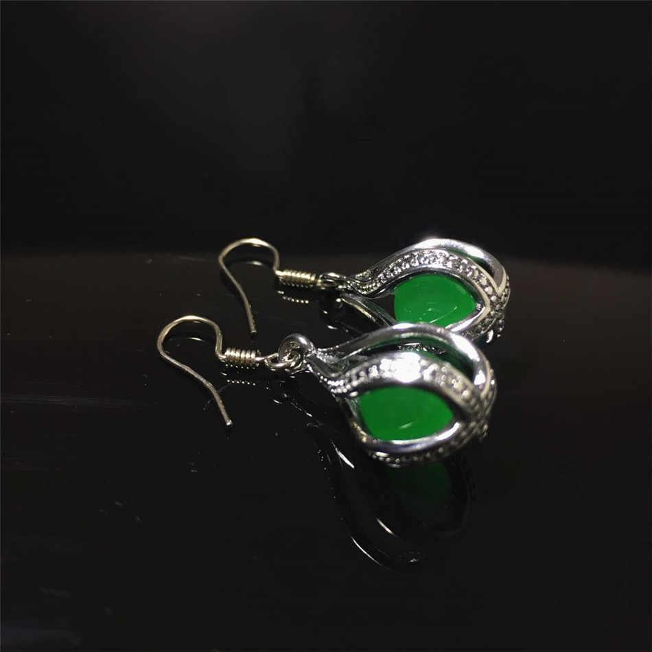 Jadery Vintage acier inoxydable collier/boucles d'oreilles/anneau ensemble de bijoux pierre verte calcédoine femmes bijoux cadeaux noir vendredi 2019