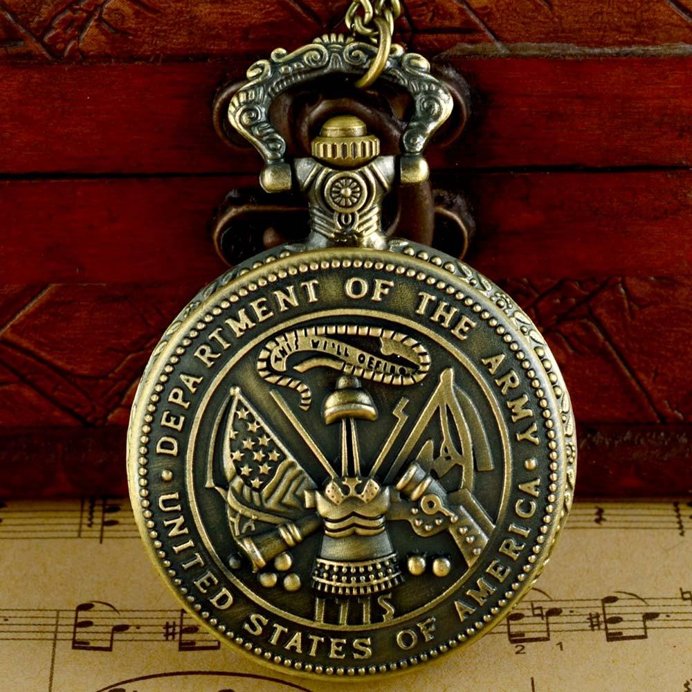 Classic Vintage Bronze US Army  Quartz Pocket Watch With Chain Retro Men Women Punk Pendant Necklace Clock  Gift