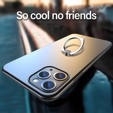 Ultra-thin Metal Ring Bracket Matte PC Phone Case For iPhone 11 Pro Max SE XSmax XR XS X 8 7 6s 6 Plus Protection Cover Coque ultra thin hard matte pc phone case for iphone 11 pro max se xsmax xr xs x 8 7 6s 6 plus luxury frosted protection cover shell