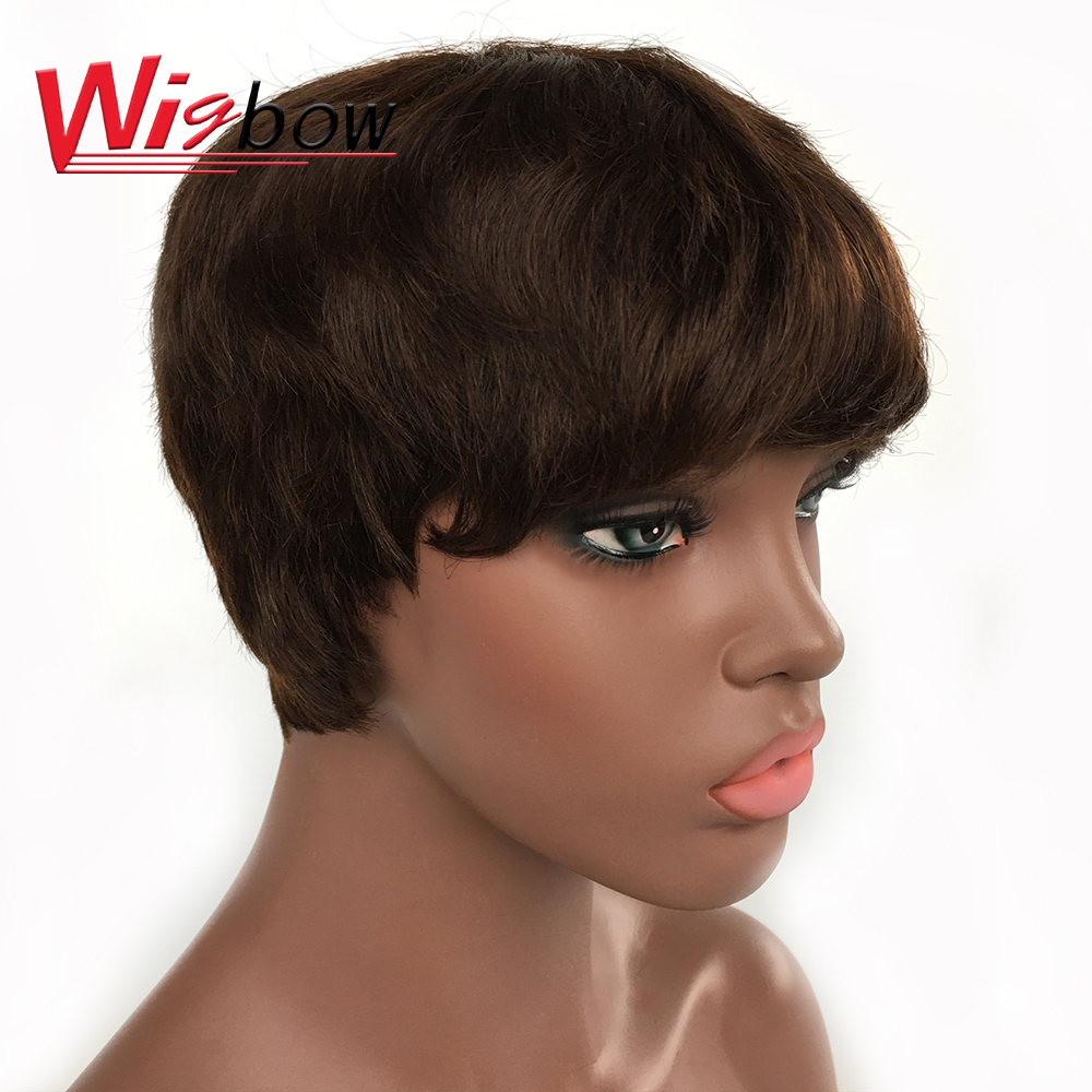Cheap Short Cut Straight Human Hair Wigs For Women 150 Density Brazilian Remy Hair Brown Color Machine Made Wigs Free Shipping