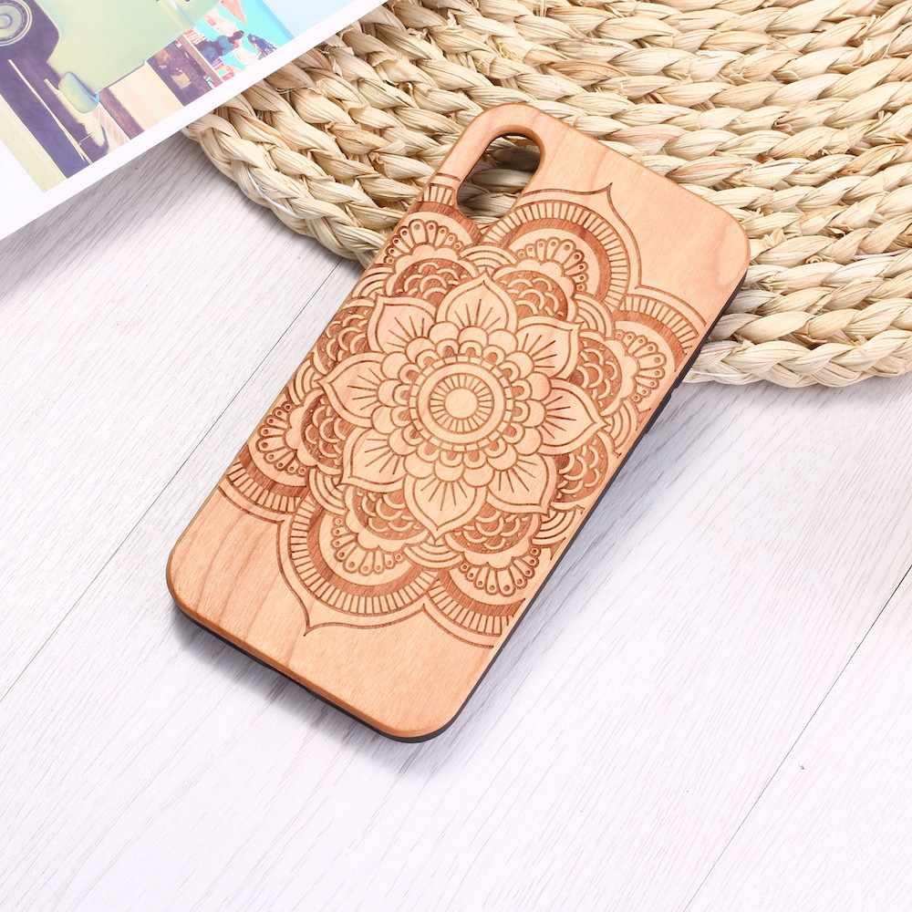 Tribal Indiase Mandala Gegraveerd Echt Hout Telefoon Case Coque Funda Voor iPhone 6 6S 6Plus 7 7Plus 8 8Plus X XR XS Max 11 Pro Max