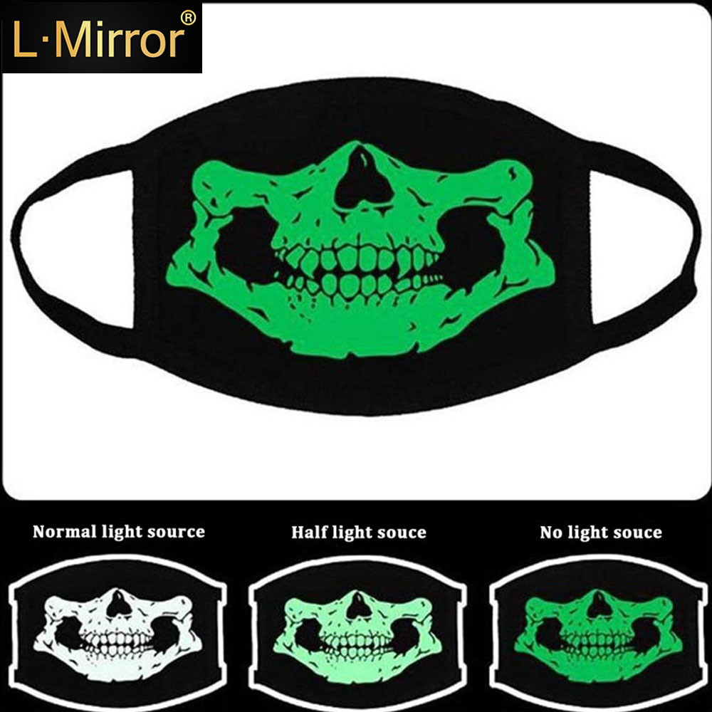 L.Mirror 1Pcs Luminous Anti Dust Cotton Mouth Mask Green Night Mask Personality Fashion Unisex Cosplay Party Outdoor Protective
