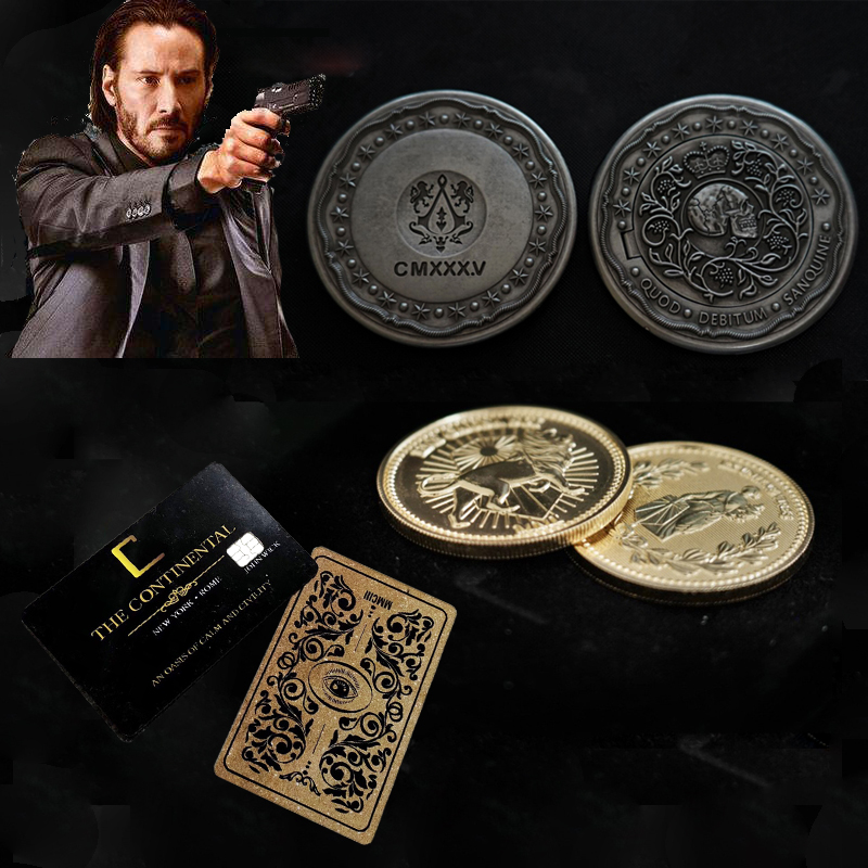John Wick Cosplay Coin Gold Collection Coins Blood Oath Marker Continental Hotel Card Keanu Reeves Cosplay Props Halloween
