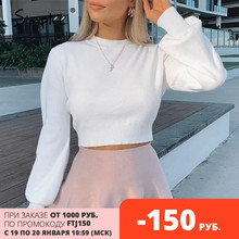 Simplee High waist Lantern Sleeve women's sweater Autumn winter white casual Pullover High street style knitted sweater 2020