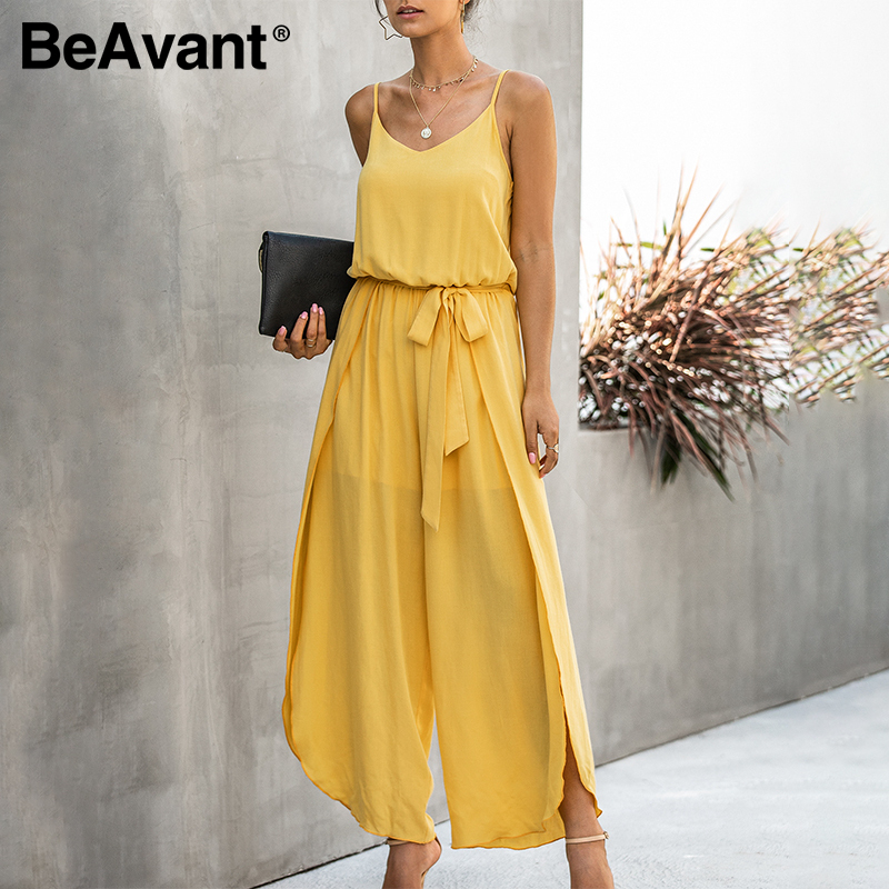 BeAvant Boho Spaghetti Straps Long Jumpsuits Women Summer High Waist Sash Casual Jumpsuits Romper Female Split Sexy Overalls