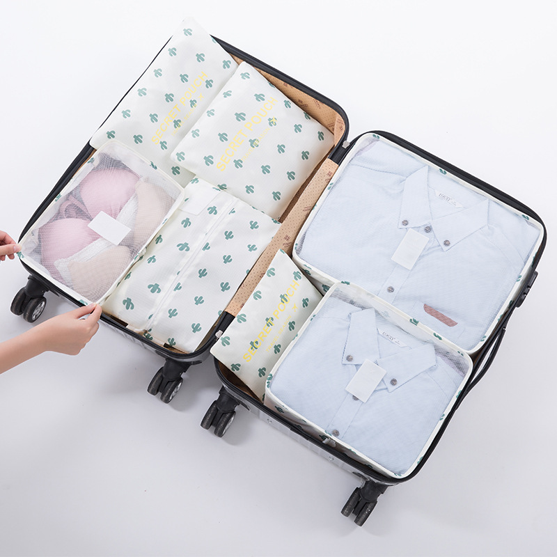7pcs Packing Cubes Travel Organizer Bag Clothes Pouch Portable  Luggage Suitcase Chic Bags Unisex Use Travel Accessories