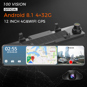 4G Car Rearview Mirror 12 Inch Android Stream Media GPS Navigation 4G+32G Dash Cam Dual 1080P Camera Car Dvr ADAS Registrar