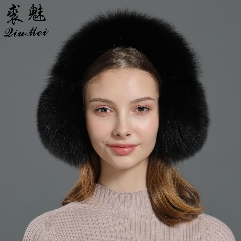 New Winter Earmuffs Fur Real Women Warm Gift Girlfriend  2019 Female Fluffy Natural Fox Fur Protection Headphones Ear Warmer