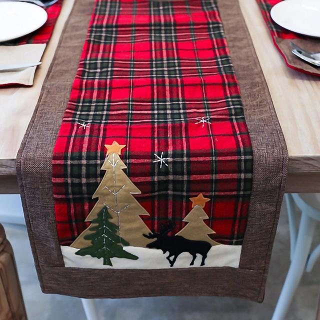Burlap & Cotton Christmas Table Runner Red Black Plaid Tablecloth Home Party Dining Table Coffee Table Decoration Tablecloth 2