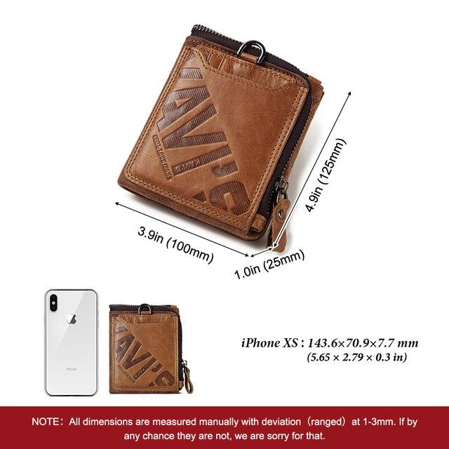 GZCZ Genuine Leather Men Wallet Fashion Coin Purse Card Holder Small Wallet Men Portomonee Male Clutch Zipper Clamp For Money 3