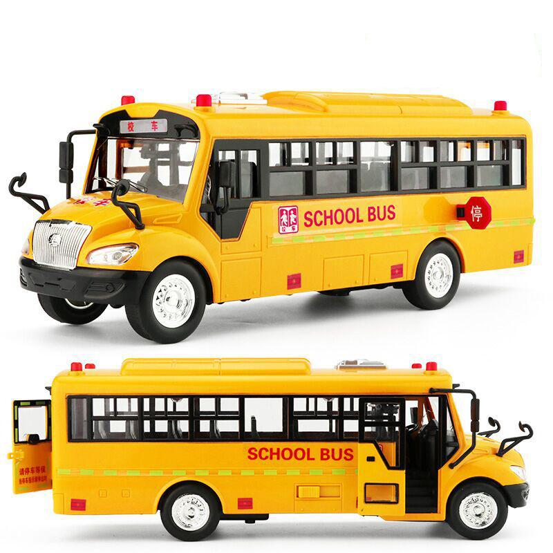 1:36 High Quality Large Children's School Bus Toy Model Inertia Car With Sound And Light Music Model Car Children Birthday Toys