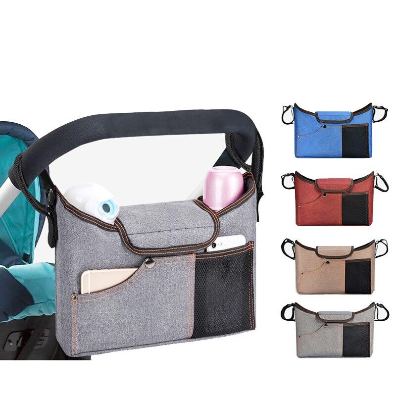 Baby Stroller Bag Black Stroller Organizer Travel Diaper Bags For Mom Baby Pram Buggy Cart Bottle Holder Bag