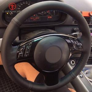 Image 3 - LQTENLEO czarna sztuczna skóra DIY osłona na kierownicę do samochodu dla BMW M Sport E46 330i 330Ci E39 540i 525i 530i M3 M5 2000 2006