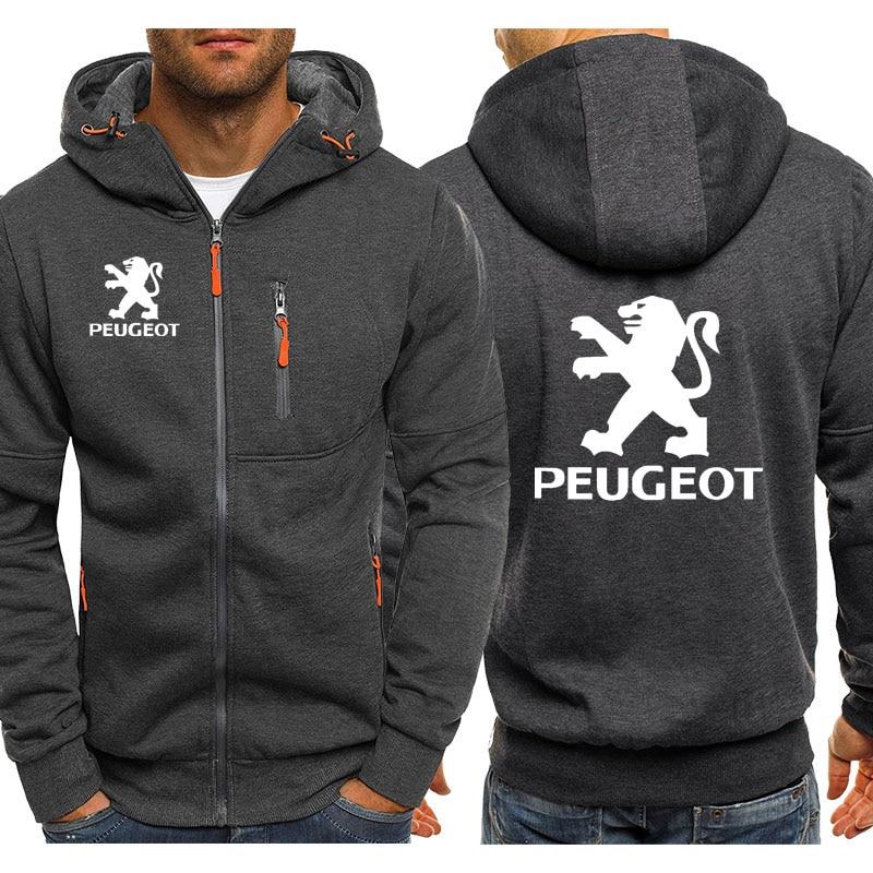 Hoodies Men Peugeot Car Logo Print Casual Hip Hop Harajuku Long Sleeve Hooded Sweatshirts Mens zipper Jacket Man Hoody Clothing