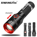 Tragbare T6 Ultra Helle LED Taschenlampe Tactical Military Torch 980000LM Zoomable 4 Beleuchtung Modi Ohne Batterie Im Freien Werkzeuge