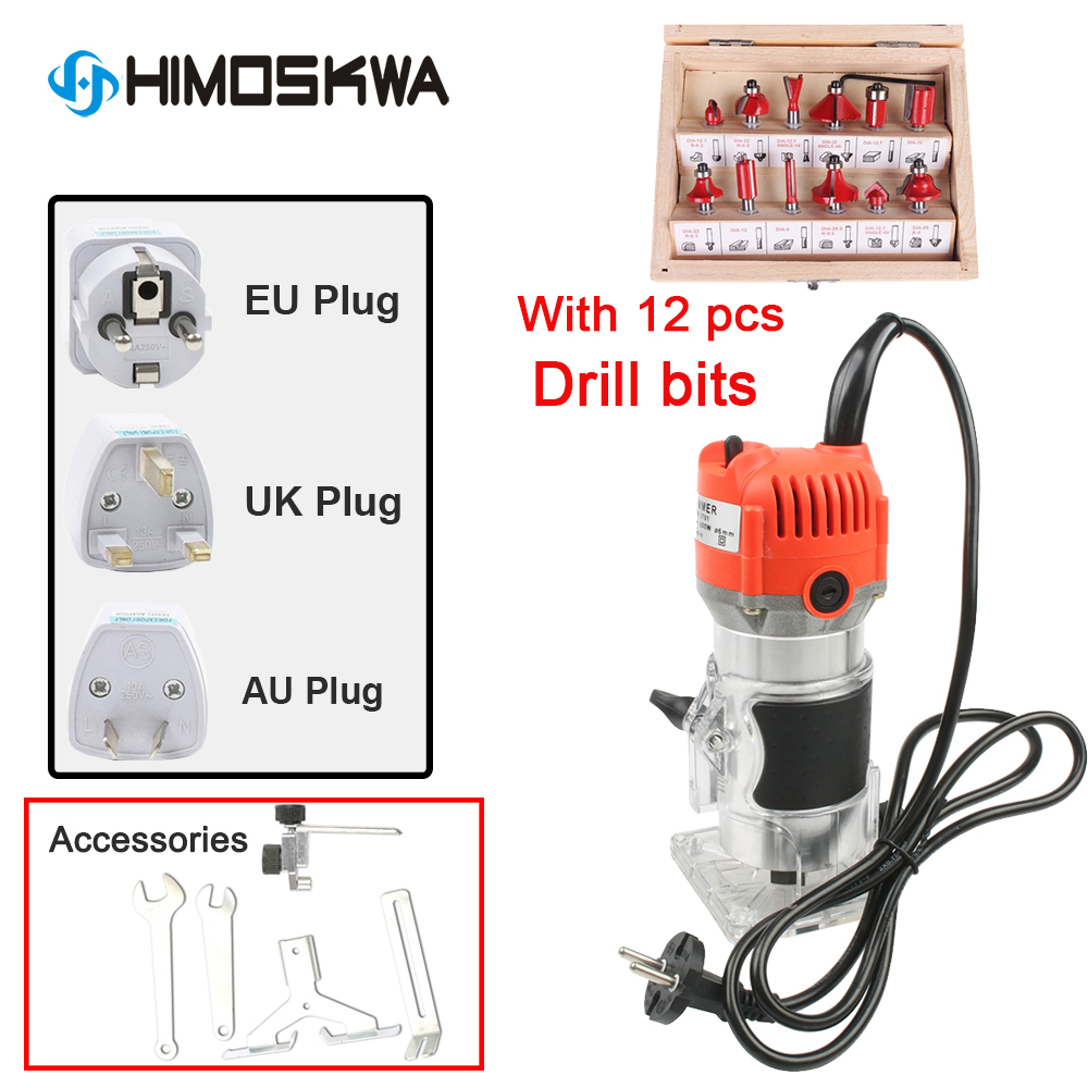800W  Aluminum Housting Power Tools Woodworking Trimmer Slot Machine Woodworking Tools Engraving With 12 Pcs Die Sets
