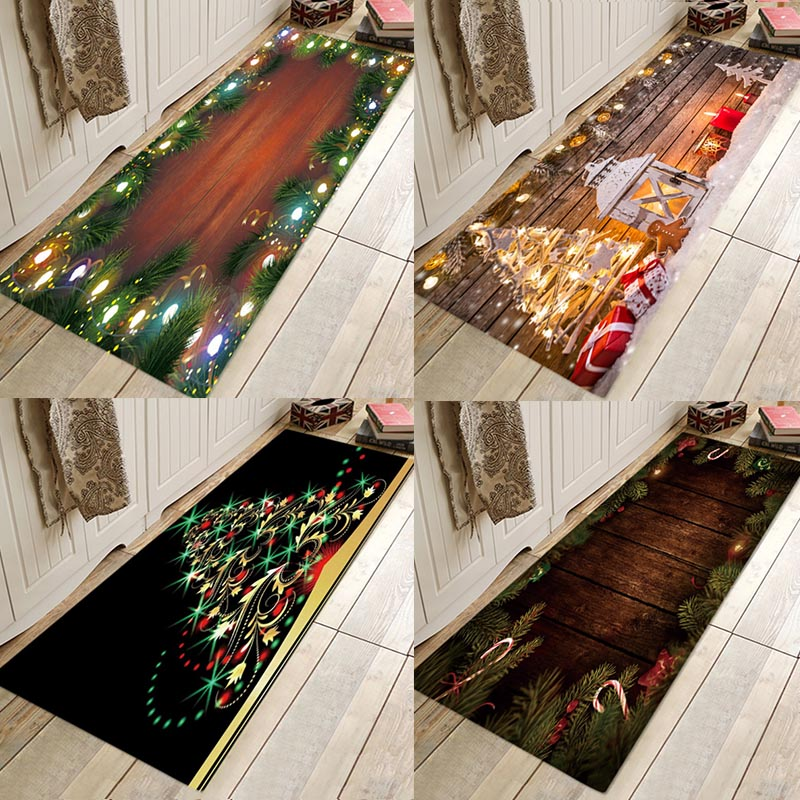 Christmas Carpets Door Mat Rug Welcome Doormats Indoor Home Carpets Decor Christmas Ornaments Party New Year Decorative Rug
