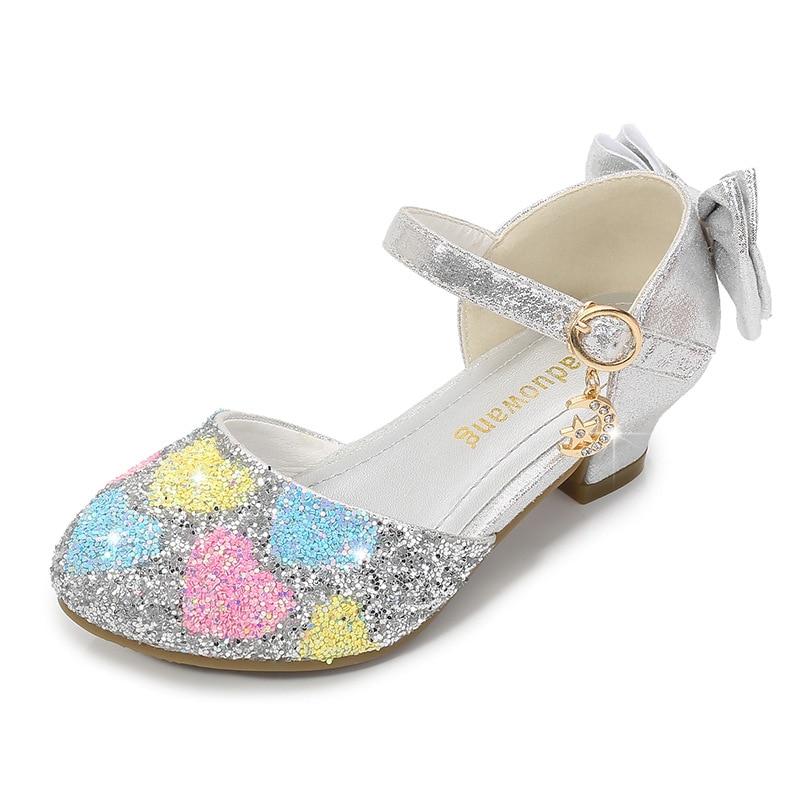 ULKNN Summer Girls Princess Sandals Hallow Sequin Flash Children Crystal High Heel Shoes Young STUDENT'S Peep-toe Sandals