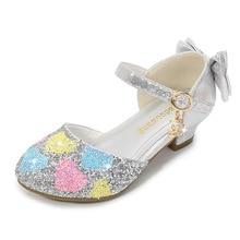цена на ULKNN Summer Girls Princess Sandals Hallow Sequin Flash Children Crystal High Heel Shoes Young STUDENT'S Peep-toe Sandals
